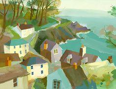 Beside The Wave: Richard Tuff Watercolor Landscape, Landscape Art, Landscape Paintings, Watercolor Paintings, Watercolors, Illustrations, Illustration Art, Costa, Guache