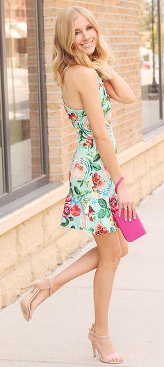 Floral Dress + Nude Heels