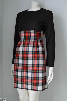 MOD scooter 1960 S 70 S high waisted TARTAN wool WINTER dress WIGGLE 12 14 38 @dewvintage