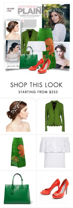 """""""Flowers in the Hair"""" by danewhite ❤ liked on Polyvore featuring Jennifer Behr, Blue Les Copains, Draper James, Prada and Sergio Rossi"""
