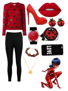 """""""Ladybug (miraculous ladybug)"""" by fangirl46322 on Polyvore featuring Burberry, Boohoo, Lime Crime, Giuseppe Zanotti, Rolex, Betsey Johnson, SUSU, Lord & Taylor and Givenchy"""