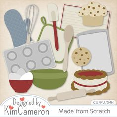 Made from Scratch baking Layered PSD Templates by Kim Cameron ; Commercial Use for Digital Scrapbooking, #CUDigitals