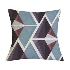 Brown and Green Geometric Pattern Pillow Case