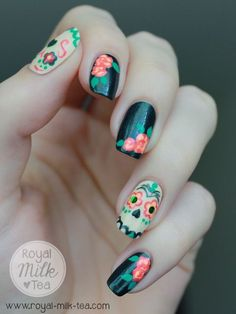 Dia de Los Muertos nails. Maybe you want to show your support in a simple way.