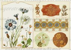 Digital Image Flower Collage Sheet Printable Antique Graphic Classic Color Download. Printable image from antique artwork. This high quality digital artwork is great for fabric transfers, printing, tea towels, pillows, and many other uses. This graphic is high quality, large at 8½ x 11 inches. Transparent background PNG version included.