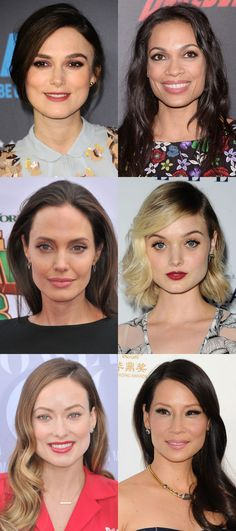 Celebrity examples of the square face shape. http://beautyeditor.ca/2016/08/31/how-to-figure-out-your-face-shape
