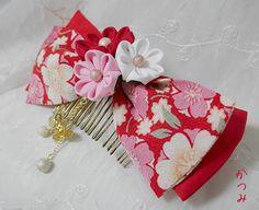 katumi made *つまみ細工の簪(かんざし)髪飾り、つまみ細工のshop*つまみ細ヘアーコーム完成品