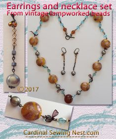 Vintage lamp worked beads Handmade earrings and necklace set