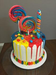Lolly cake for my 7 year old niece. Happy birthday Allegra! #lollycake #dripcake…