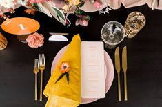 La Tavola Fine Linen Rental: Aurora Blush Table Runner with Velvet Golden Napkins | Photography: Brett Loie, Venue: Villa Royale, Event Design & Planning: Stylish Details Events, Florals: Inessa Nichols Design, Paper Goods: Eclaire Paperie, Furniture: Adore Folklore | Micro wedding Palm Springs Wedding