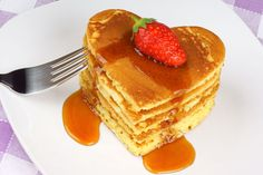 How about a romantic heart shaped stack of pancakes!