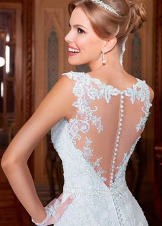 Elegant Tulle Jewel Neckline 2 in 1 Wedding Dresses with Sequin Lace Appliques & Detachable Shawl