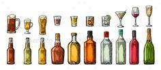 Bottle Beer and Liquor Set - Food Objects Download here: https://graphicriver.net/item/bottle-beer-and-liquor-set/19384708?ref=alena994