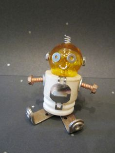 Baby Bulb Bot   found object robot sculpture assemblage by ckudja, $50.00