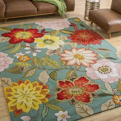36 X 56 Color Flower Aqua Area Rug Polyester Floral