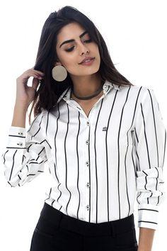 b673d8284f Branca Listras Pretas - Les Chemises - Camisas Sociais Femininas Camisa  Social Preta Feminina