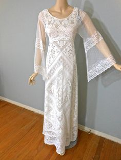 White Hippie WEDDING Dress BoHo Crochet LACE by MuseClothing