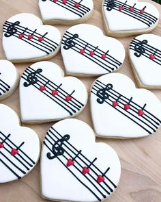 Piano Recital Sugar Cookies by The Cookie Curator LLC Cut Out Cookies, Iced Cookies, Cute Cookies, Royal Icing Cookies, Sugar Cookies, Valentine Cookies, Christmas Cookies, Valentines, Music Cookies