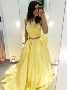 On Sale Engrossing 2018 Prom Dresses, Yellow Prom Dresses, Prom Dresses Simple, Prom Dresses Cheap