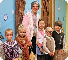 Kindergarten class celebrating the 100th day by dressing up as elderly folks. So cute! This type of stuff is so fun and not really possible with homeschool... must.invent.something...