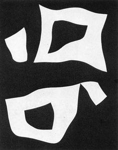 Jean Arp, Constellation of Three White Forms on Black Ground, 1957