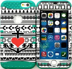 """myLife Stylish Design and Layered Protection Case for iPhone 6 Plus (5.5"""" Inch) by Apple {Sea Green """"Tribal Anchor Heart Finish with Kickstand"""" Three Piece SECURE-Fit Rubberized Gel} myLife Brand Products http://www.amazon.com/dp/B00PX8F54K/ref=cm_sw_r_pi_dp_1W2Cub1Z195GJ"""