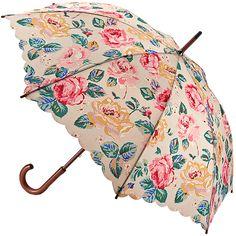 Forest Rose Taupe Kensington Walking Length Umbrella - British Bird Grey - Brolliesgalore
