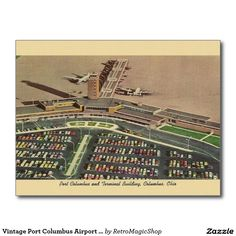 Vintage Port Columbus Airport Postcard
