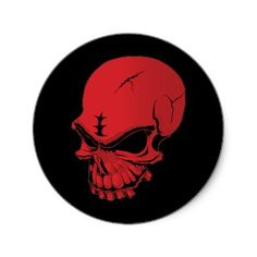 Red Skull Round Stickers from http://www.zazzle.com/skull+stickers