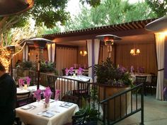 Outdoor dining cabanas at Lavender Bistro in La Quinta...