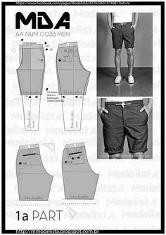 ModelistA: - NUM 0033 MEN SHORTS Part 1 (Maybe I can make DH some awesome shorts that won't fall apart as readily as those store-bought ones do.sábado, 21 de fevereiro de 2015 - NUM 0033 MEN It's summer. So it's all about ( should be all about) beac Mens Sewing Patterns, Sewing Men, Sewing Pants, Sewing Clothes, Clothing Patterns, Diy Clothes, Fashion Sewing, Diy Fashion, Costura Fashion