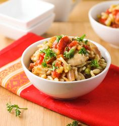 Easy and Satisfying One Dish Meal! Orzo chicken Asiago!