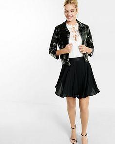 high waisted pleated mini skirt