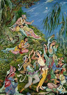 (Iran Modern Persian art) Tarot, Potions, and Psychedelic Magick Spells: Mahmoud Farshchian Classical Art, Miniature Art, Iranian Art, Literature Art, Culture Art, Painting, Infinite Art, Miniature Painting, Eastern Art