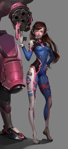 This HD wallpaper is about Overwatch character digital wallpaper, anime, anime girls, D.Va (Overwatch), Original wallpaper dimensions is file size is Game Character, Character Concept, Concept Art, Character Design, Art Manga, Art Anime, Female Characters, Anime Characters, Science Fiction
