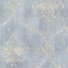 Blue & Cream Weathered Damask Wallpaper Double Roll Bolts FREE SHIPPING | Home & Garden, Home Improvement, Building & Hardware | eBay!