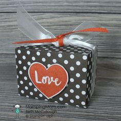 Stampin Up Valentine Mini Ghirardelli Box using the January 2017 Paper Pumpkin stamp set designed by demo Beth McCullough. Please see more card and gift ideas at www.StampingMom.com #StampingMom#cute