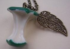 Who ate my apple green apple necklacewith a leaf by qizhouhuang
