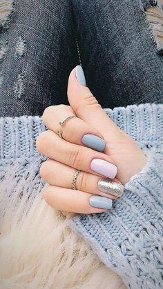 Hottest Winter Nail Colors 2018 Ideas 36 nail art designs 2019 nail designs for short nails step by step full nail stickers nail art stickers walmart best nail polish strips 2019 Fall Acrylic Nails, Acrylic Nail Designs, Nail Art Designs, Nails Design, Fall Nails, Glitter Nails, Silver Glitter, Grey Gel Nails, Gold Nail