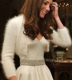 Wedding stylist Clare Mukherjee writes in the Huffington Post that her most oft requested bridal garments are Angora boleros or shrugs like the one the Duchess of Cambridge wore to her wedding reception,