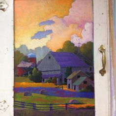 Gorgeous purple barn painted on a vintage cabinet door. Pastel Paper, Painting Cabinets, Paint Designs, Cabinet Doors, Painting Inspiration, Barn Paintings, Illustration Art, Vintage Cabinet, Arts And Crafts