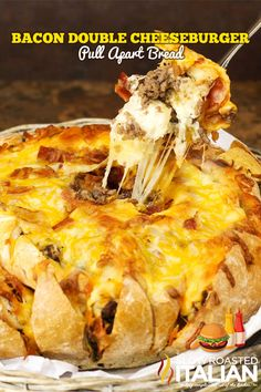 Totally Obscene!! Bacon Double Cheeseburger Pull Apart Bread via The Slow Roasted Italian #tailgating