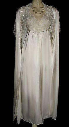 f3ee78216e SOLD - VINTAGE RARE STYLE OLGA GOLD LABEL IVORY CHARMEUSE SATIN   LACE  SPANDEX BRIDAL TROUSSEAU PEIGNOIR   NIGHTGOWN SET IN WEDDING BELLS
