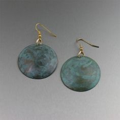 Green Patinated Copper Disc Earrings