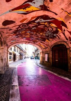 """One cannot go to Lisbon without sampling the nightlife and fun activities in Lisbon. Lisbon's Pink Street on Rua Nova do Carvalho is one such place breaming with clubs, bars, and restaurants. Rua Nova do Carvalho turned """"Pink Street"""" as… Sintra Portugal, Visit Portugal, Spain And Portugal, Road Trip Portugal, Portugal Travel, Spain Travel, Lisbon Nightlife, The Places Youll Go, Places To See"""