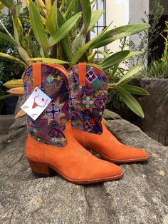 Love❤️ Orange suede & vintage Maya textile boots handcrafted by Coleccion Luna bookmakers in Antigua, Guatemala using Fair Trade practices.