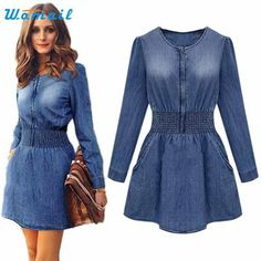 Vintage Women Long Sleeved Slim Casual Denim Jeans Party Mini Dress