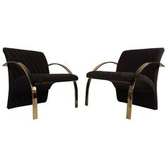 Pair of Dramatic Sculptural Brass Lounge Chairs by Directional ca.1979 | From a unique collection of antique and modern armchairs at https://www.1stdibs.com/furniture/seating/armchairs/