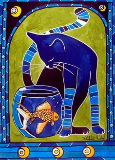 Cat painting Blue Cat With Goldfish Colorful Cat Art by Dora Hathazi Mendes aquarium, fish, goldfish, pet, kitty, kitten, pets, fishtank, feline, animal, animals, nature, water, art, blue, green, orange, art nouveau, glass, bright, colors, colorful, whimsical, print, gift, frame, framed, friend, friendship, black cat, blue cat, stripes, for kids, child room,  kids room, kids, decor, cute, cutie, lovely, japanese goldfish, aniversary, children, homedecor together, striped, #dorahathazi