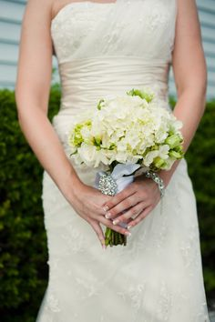 White and Green Bouquet of Hydrangea, Roses, Hypericum Berries, and Freesia by Andrea Layne Floral Design (www.andrealaynefloraldesign.com)